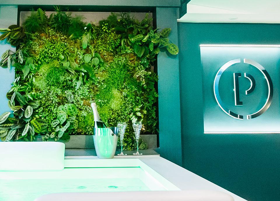 Suite Saphir et son mur végétal naturel à Toulouse, Parenthèse Concept Room